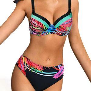 Women's Solid Color Straps Bikini Double Strap High Waist Split Swimsuit Größe:L,Farbe:Bunt