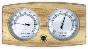Sudorewell Sauna Messstation Klimamesser mit Thermometer + Hygrometer aus Kiefernholz (hell) - Finnisches Design by Opa/Lumo