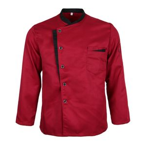 Langarm Kochjacke Bäckerjacke mit Druckknöpfe Küche Arbeitsjacke Gastronomie Arbeitskleidung Farbe Rot M