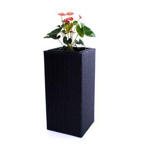 Blumenkübel, Übertopf Polyrattan Säule 30x30x55cm schwarz.