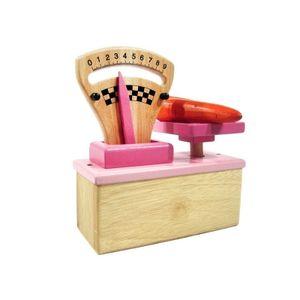 Estia 600125 Waage Zeigerwaage aus Holz in pink für Kaufladen