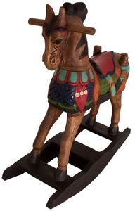 Kinder Holzschaukel Wippe Schaukel Pferd Holz Massiv Asia Möbel China 83cm