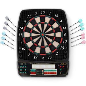 Physionics® Elektronische Dartscheibe - 28 Spiele, 131 Spielvarianten, inkl. 12 Dartpfeile, 100 Ersatz-Pfeilspitzen und Netzteil, 8 Spieler - LED Anzeige Dartboard, Dartautomat, Dartspiel, Darts