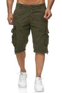 Herren Cargo Shorts Kurze Bermuda Freizeit Hose Baumwolle, Farben:Grün, Größe Shorts:30W