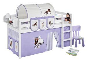 Lilokids Spielbett JELLE Pferde Lila Beige - Hochbett - weiß - mit Vorhang - Maße: 113 cm x 208 cm x 98 cm; JELLE2054KW-PFERDE-LILA