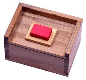 Der rote Stein - 3D Puzzle - Denkspiel - Knobelspiel - Geduldspiel - Logikspiel im Holzkasten