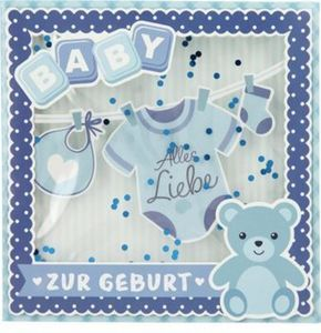 Glückwunschkarte Konfetticards Klappkarten mit Konfetti 034 - Baby - Alles Liebe zur Geburt (blau)