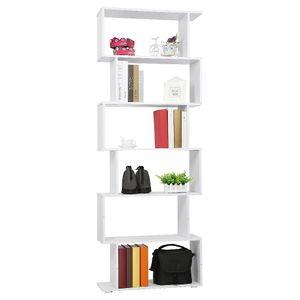 WYCTIN Raumteiler Bücherregal Standregal Aktenregal Büroregal Hochregal Aufbewahrung Regal 6 Fächer 70*24*190.5cm