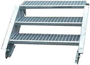 Stahltreppe verzinkt 3 Stufen Geschosshöhe 40-60cm / Stufenmaße 100 cm x 24 cm