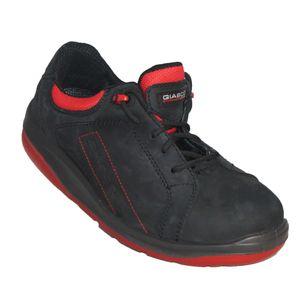 Giasco Sicherheitshalbschuh Sport S3 Gr. 40, schwarz/rot, mit ergonomischer Sohle zur Muskelstärkung