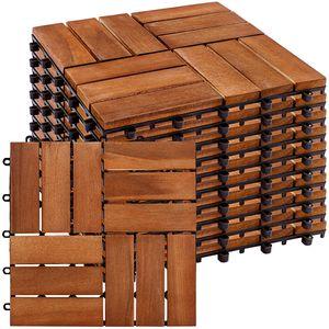 STILISTA 11er Set Akazie Holzfliesen Mosaik
