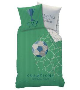 Fußball Jungen Bettwäsche CHAMPIONS mit Wende Motiv - Kissenbezug 80x80 + Bettbezug 135x200 cm - 100% Baumwolle