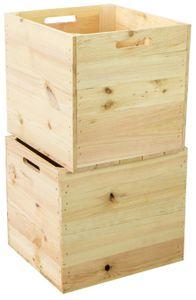 2er set Holzkiste Natur passend für Kallax und Expeditregale