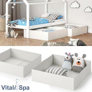 VitaliSpa Faltbox Schublade Aufbewahrungsbox für Kinderbett 2er Set Weiß