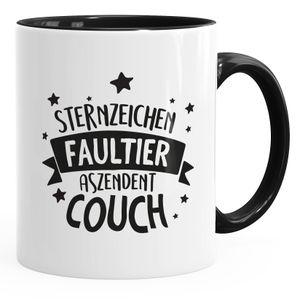 Kaffee-Tasse mit Spruch lustig Sternzeichen Faultier Aszendent Couch Bürotasse lustige Kaffeebecher MoonWorks® schwarz Keramik-Tasse