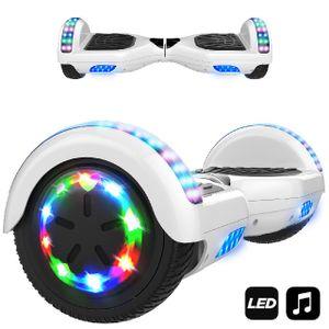 Hoverboard 6.5 Zoll-LED & Bluetooth mit 350W*2 Motorbeleuchtung-für Kinder und Jugendliche, Self Balance Scooter Elektroscooter Elektro Skateboard Weiss