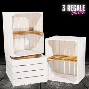 3 weiße Holzkisten mit geflammtem Mittelbrett -quer-Obstkiste Regal Bücherregal Wandregal Apfelkiste DVD Bücher