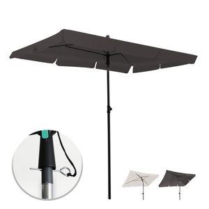 Grandekor Sonnenschirm Rechteck Anthrazit 200*125CM Mit Sicherheitsschluessel UV 50+ Gartenschirm Neigefunktion hoehenverstellbar