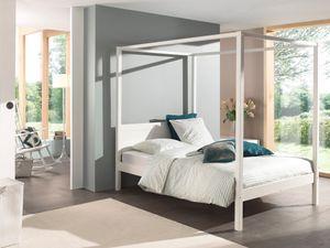 Himmelbett 140 x 200 cm, mit Lattenrost und Himmel Gestänge Farbe weiß