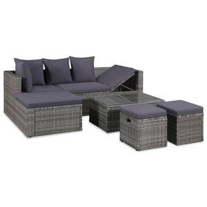 Modernem 4-tlg. Gartenmöbel Set Garten-Lounge-Set Gartensofa Sitzgruppe mit Auflagen Poly Rattan Grau