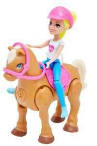 Barbie on the go Puppe mit blonden Haaren und Hellbraunes Pferd FHV63