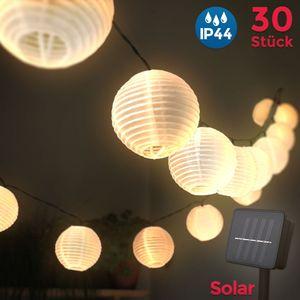 LED Außen-Lichterkette Solar Outdoor 6 Meter 30 Lampions IP44 Wasserfest Deko Solar/Akkubetrieben Garten Terrasse Balkon B.K.Licht