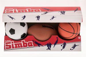 Simba Bälle Set, 3 Stück Fußball, Basketball, Football in 9-10cm