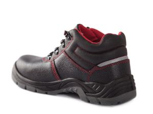 Qualitex S3 Schnürstiefel Unisex 61961A schwarz/rot 43 Arbeitsschuhe, Sicherheitsschuhe Handwerker, Heimwerker, Sicherheitsdienst