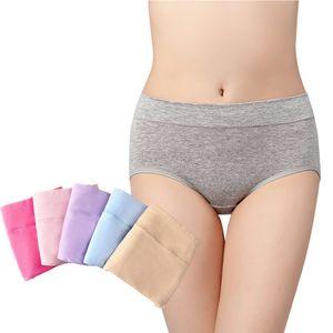 Damen Unterwäsche Weiblich mit Mittlere Tailler Streckende Einfarbige Einfache Weiche Höschen für Älteres Mädchen 5 Stücke (Taille von 66-76 cm)