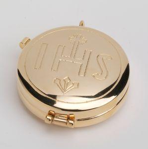 Hostienbehälter Ø 5,5 cm in Messing gold mit Inschrift IHS