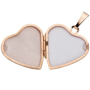 JOBO Medaillon Herz Anhänger zum Öffnen 925 Silber rosegold vergoldet mit Kette 50 cm