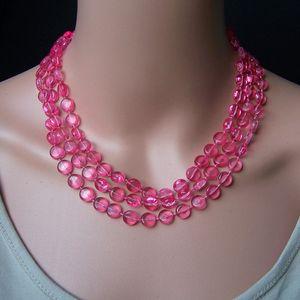 Z279 Perlenkette lang pink Imitationsperlen Wickelkette Halskette