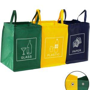 TRESKO 3er Set Recycling Englisch Müll Sortiertaschen Mülltrennsystem Mülleimer Mülltrenner Trennsystem Abfalltrennsystem