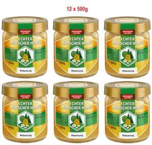 Echter Deutscher Honig aus Hessen. Naturbelassen, fein gesiebt und ungefiltert 12 x 500g Blütenhonig