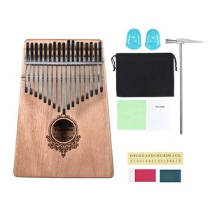 17 Tasten Mbira Thumb Piano Daumenklavier Kalimba Wooden Finger Piano Mit Stimmhammer, Klaviertasche, Studienanleitung, Kinder Anfänger