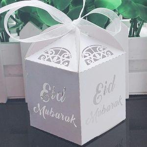 Eid Mubarak Geschenkboxen, 10 Stück, Weiß , Ramadan Dekorationen DIY, Ramadan Geschenkbox, Eid Mubarak, Papier-Geschenktüte, Muslimische Islamische Partyzube