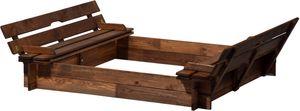dobar Sandkasten mit Sitzbänken, verschließbare Sandkiste für zu Hause, 118 x 118 x 21 cm, Kiefer, Braun