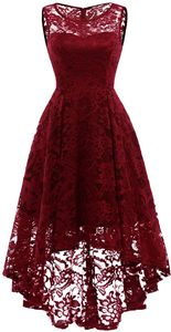 Elegante Abendkleider Cocktailkleider Damenkleider Brautjungfernkleider aus Spitzen Knielange Rockabilly Ballkleid Rund Ausschnitt L