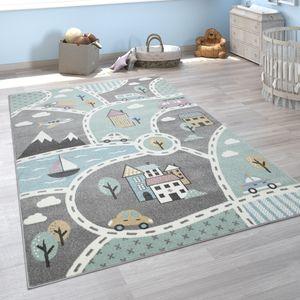 Kinder-Teppich Mit Straßen-Motiv, Spiel-Teppich Für Kinderzimmer, In Grün Grau, Grösse:160x220 cm