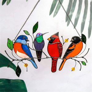 Mehrfarbig Vögel Hängende Ornament Glasmalerei Fensterbehänge für Zuhause Fenster  Verzierung  A