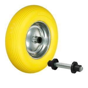 ECD Germany Schubkarrenrad aus pannensicherem PolyurethanVollgummi mit Achse - Reifen mit Stahlfelge - 4.80/4.00-8 - Durchmesser 390 mm - Gelb - Ersatzrad Gummirad Schubkarren Rad