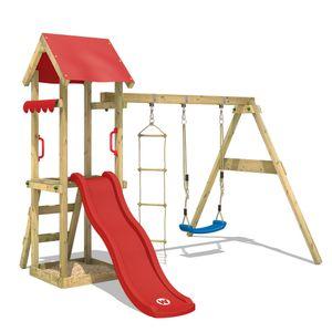 WICKEY Spielturm Klettergerüst TinyCabin mit Schaukel & roter Rutsche, Kletterturm mit Sandkasten, Leiter & Spiel-Zubehör