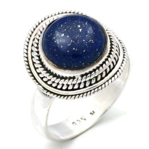 Lapis Lazuli Ring 925 Silber Sterlingsilber Damenring blau (MRI 126-06),  Ringgröße:52 mm / Ø 16.6 mm