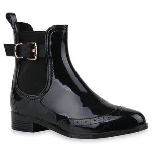Mytrendshoe Damen Stiefeletten Chelsea Boots Schnallen Gummistiefel Schuhe 817450, Farbe: Schwarz, Größe: 37