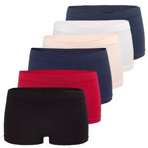 6er Pack Seamless Damen Panties Hipsters Boxershorts Perfekter Sitz sechs Farben, Größe:40/42, Farbe:Multifarb Set