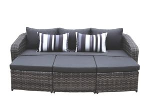 Lounge-Set Milano Sofa 3er, 2 Hocker, Couchtisch Gestell Aluminium Geflecht dunkelgrau inkl. Kissen