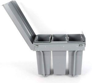 Mülleimer Einbau Unterschrank, Mülleimer Küche ausziehbar, Platzsparendes Vollauszug Küchen, 3 x 10L Einbaumülleimer, Einbau Abfallsammler, Trennsystem, Bodenmontage