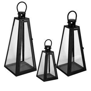 XXL Set Pyramiden Windlicht Laternen Gartenlaternen Set schwaz 27/40/55cm