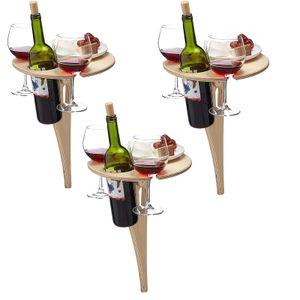 3 Stück Weinregal mit Tisch , Faltbare Portable Outdoor Wein Tabelle Picknick Tisch Weingläser Hölzerne Weinregal Ideen Faltbar Biertisch