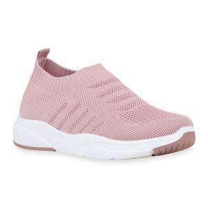 Mytrendshoe Damen Sportschuhe Strick Laufschuhe Slip On Sneaker Turnschuhe 832681, Farbe: Altrosa, Größe: 39